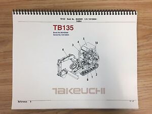 Takeuchi Tb135 Parts Manual S n 13510004 And Up Free Priority Shipping