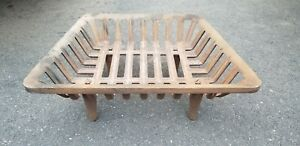 Antique Cast Iron Fireplace Basket Box Grate For Gas Wood Logs Coal Footed