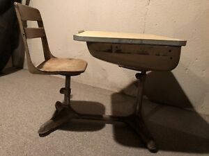 Vintage Child S School Desk Chair Wood And Metal