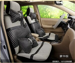 20 Piece Ice Silk Black And White Polka Dot Bow Car Seat Covers