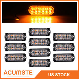 10x Amber Car 12 Led Emergency Strobe Light Kit Bar Marker Flash Warning Lamp