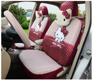 18 Piece Ice Silk Baby Red Polka Dot Hello Kitty Car Seat Covers
