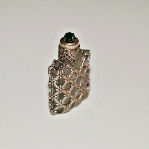 Vintage French Miniature Glass Filigree Perfume Bottle With Glass Dauber Rare