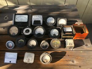 Big Lot Of 18 Vintage Meters Amp Weston Simpson General Electric And More