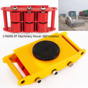 Heavy Duty Machine Dolly Skate Roller Machinery Mover 8t 17600lb Rotation Cap Us