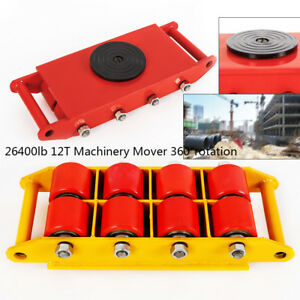 Heavy Duty Machine Dolly Skate Roller Machinery Mover 12t 26400lbs Rotation Cap