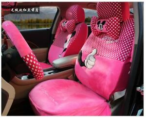 17 Piece Rose Pink Polka Dot Mickey And His Gloves Car Seat Covers 1