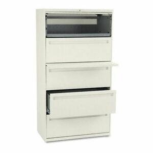 Hon 700 Series 36 Inch Four Drawer Lateral File And One Roll Out Shelf