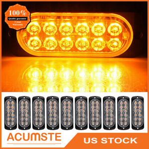 10x Amber white Car 12 Led Emergency Warning Flash Strobe Light Kit Bar Truck Us