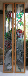 Vintage Stained Glass Red Rose Windows Or Door Cabinet Panels Gorgeous