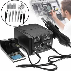 3 In1 Smd Rework Soldering Station Hot Air Gun Solder Iron Dc Power Supply 8528d