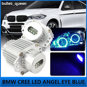 2x 80w Blue Led Angel Eyes Ring Halo Marker Bulbs For Bmw 3 Series E90 E91 06 08