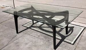 Mid Century Modern Ebonized Adrian Pearsall Compass Dining Table