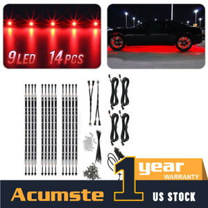 14pcs Red Led Strip Under Car Tube Underglow Underbody Neon Light Kit 12 12v Us