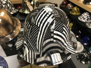 New Full Brim Hard Hat Custom Hydro Dipped Black White Flags Free Shipping