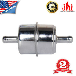 Chrome Canister Style 3 8 Inline Fuel Filter Hose Carbureted Chevy Ford Mopar