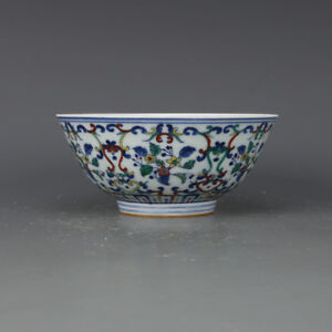 China Antique Porcelain Qing Yongzheng Blue White Doucai Painting Flower Bowl