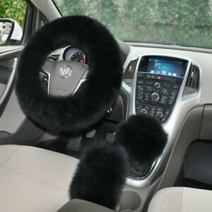 3 Pcs Car Auto Soft Steering Wheel Cover Fuzzy Wool Plush Winter Warmer Black