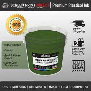 Ecotex Olive Green Np Premium Plastisol Ink For Screen Printing 1 Gal 128oz