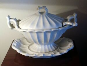 Ceramic Tureen Large White With Under Plate Ladle Blue 12 4 Mark On Bottom