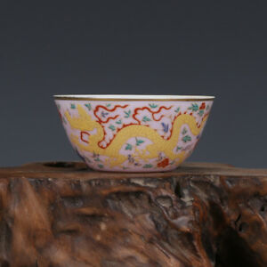 China Antique Porcelain Ming Chenghua Yellow Colourful Gilt Painting Draon Cup