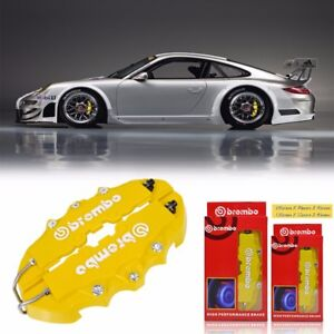 4pcs Yellow 3d Brembo Style Front Rear Universal Disc Car Brake Caliper Covers
