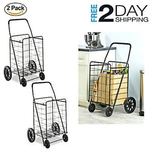 Deluxe Basket Cart Storage Rolling Utility Heavy Duty Pulling Wheels Shop Tools