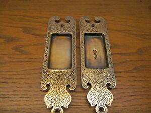 Pair Old Russell Erwin Co Brass Plated Pocket Door Escutcheons Backplate