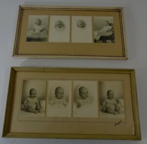 Old Antique Vintage Wooden Picture Frames W Babies 1940 S 8 Adorable Photos