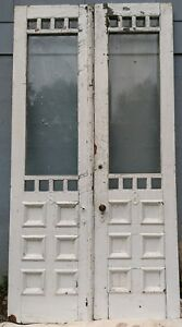 Antique Double French Door X2 Victorian C 1880s Beveled Glass 101 Hx52 W Salvage