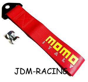 Jdm Momo Racing Universal Front Rear Tow Strap Tow Hook Ribbon Red