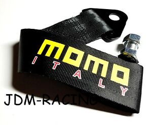 Jdm High Strength Momo Tow Strap For Front Rear Bumper Towing Hook Black