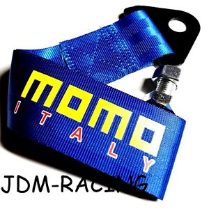Jdm High Strength Momo Tow Strap For Front Rear Bumper Towing Hook Blue