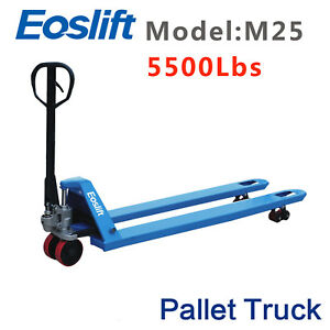 Eoslift M25 Hand Pallet Truck Capacity 5500lbs Fork Size 27 X 48 With Pu Wheels