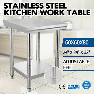24 X 24 Stainless Steel Kitchen Work Prep Table Food Storage Space Commercial