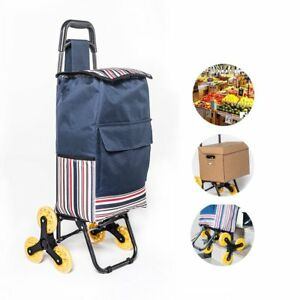 Folding Shopping Laundry Grocery Rolling Cart Stainless Steel Frame Deep Blue