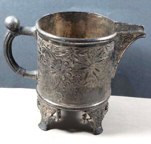 Pairpoint Mfg Co Quadruple Silver Plate Garden Spider Web Footed Pitcher Creamer