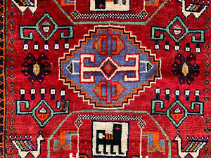 4x5 Caucasian Persian Rug Antique Hand Knotted Wool Foundation Area Rugs Red 4x6