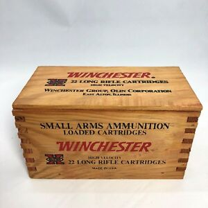 Vintage Winchester Super X Wood Wooden Ammo Box Crate Dovetail Corners Slide Top
