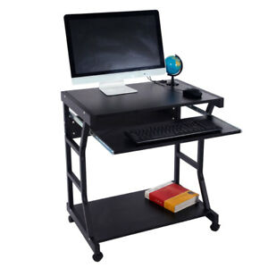 Computer Table Desk Laptop Pc Tablet With Wheels Office Corner Black Workstation