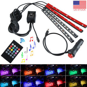 4x 12 Led 16 Color Rgb Strips Sound Activated Car Interior Music Lights Remote