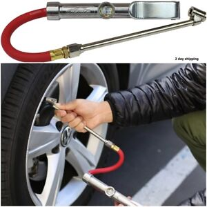 Air Chuck Commercial Grade Dual Head Tire Inflator Gauge With Air Hose