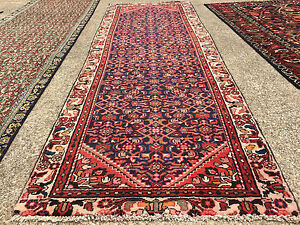 3x10 Blue Persian Runner Rug Hand Knotted Wool Antique Red Coral Navy 3x9 3x8 Ft