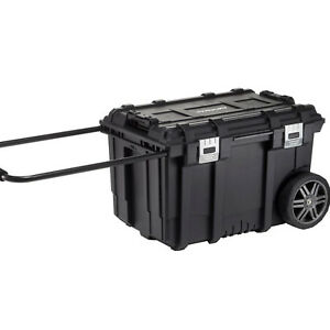 Mobile Tool Storage Box Job Organizer 26 Inch Heavy Duty Wheeled Lockable Bin