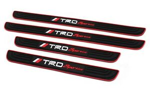4pcs Trd Black Rubber Car Door Scuff Sill Cover Panel Step Protector For Toyota