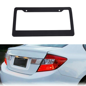 1x Carbon Fiber Style License Plate Tag Frame Tinted Smoke License Shield Cover