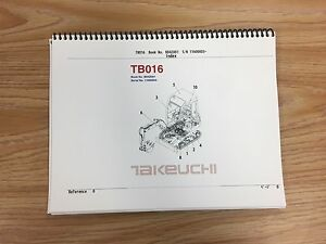 Takeuchi Tb016 Parts Manual S n 11600003 And Up Free Priority Shipping