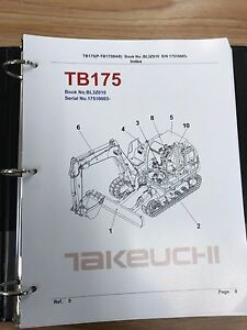 Takeuchi Tb175 Parts Manual S n 17510003 And Up Free Priority Shipping