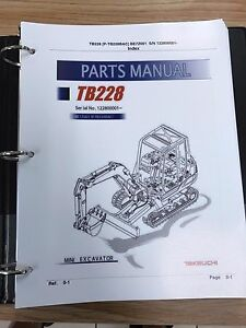 Takeuchi Tb228 Parts Manual S n 122800001 And Up Free Priority Shipping