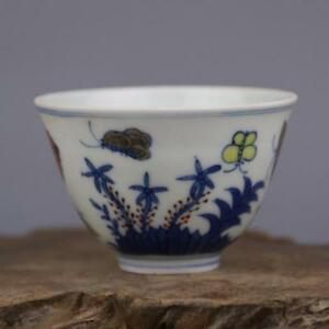 China Antique Porcelain Ming Chenghua Hand Painted Blue White Butterfly Cup